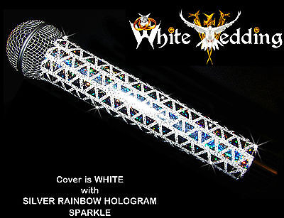 MICROPHONE COVER (WHITE WEDDING) WHITE SPARKLE MICROPHONE COVER FOR CORDLESS MIC