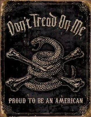 Don't Tread On Me Retro Tin Sign Proud Amercan Gun 2nd Amend Wall Decor USA 16""