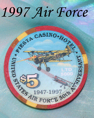 Fiesta Las Vegas Air Force 50 Years Casino Chip Anniverary 1997 Convention