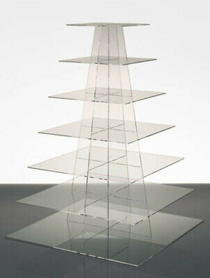 7 Tier Clear Square Cupcake Stand Stencil Range Acrylic Party/Wedding Cake