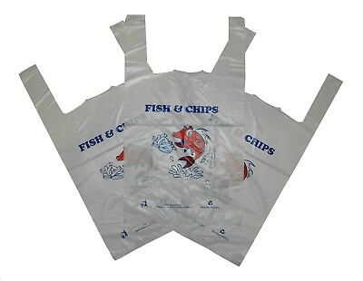 Large Vest-Style 'Fish & Chips' Printed  Plastic Carrier Bag + FREE Delivery