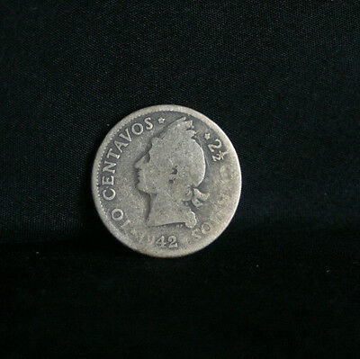 1942 10 Centavos Dominican Republic Silver World Coin Native Princess KM19