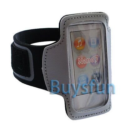 New White Sport Gym Armband Case Cover w/ Leather For iPod Nano 7 7G 7TH +Film