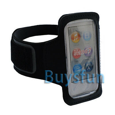 Black Sport Gym Armband Case Cover w/ Leather For Apple iPod Nano 7 7G 7TH +Film