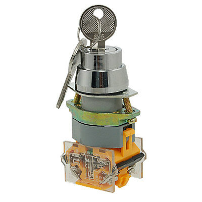 On/Off/On Three 3 Position Rotary Selector Key Lock Switch 10A 660V AC