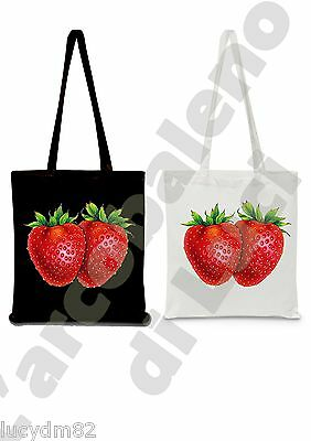Shopper Borsa Spesa Fragole Strawberry Fragola Tote Bag Frutta Shopping