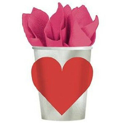 Amscan Valentine Key To Your Heart 9 Oz Paper Cups 8 count Bridal Shower