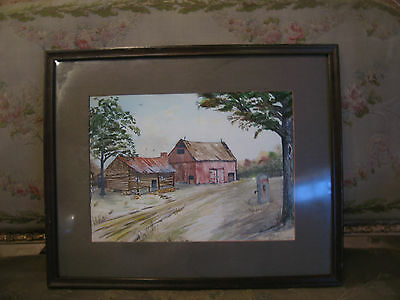 Vintage Antique Ethel C Signed Watercolor Painting of Cabin & Barn