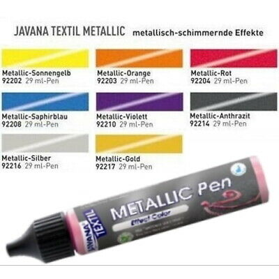 (100ml=10,31€) Javana Stoffmalfarbe Textilfarbe Metallic Pen 29ml 17 Farben