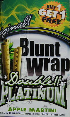 "1 Box Blunt Wrap Platinum Double ""Apple Martini"" = 50 Blunts Apfel"