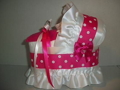Hot Pink White Polka Dots Girl Diaper Bassinet Carriage Baby Shower Centerpiece