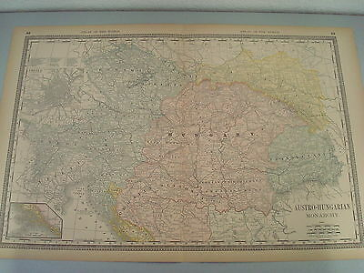 Rare 1888 Antique Map Of Austro - Hungarian Monarchy