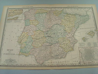 Rare 1888 Antique Map Of Spain And Portugal