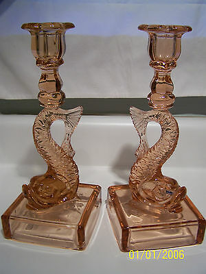 Rare   Flamingo Colored Dolphin Candle Holders