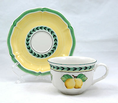 Villeroy and Boch FRENCH GARDEN FLEURENCE Flat Cup and Saucer Set 2.375 in Lemon