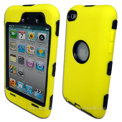 NEW Yellow Heavy Duty Cover Case for Apple iPod Touch 4 4th Gen Tough Protective