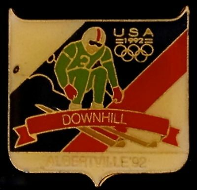 Downhill Skiing Olympic Pin Badge~Albertville~1992 USA Fundraising Collection