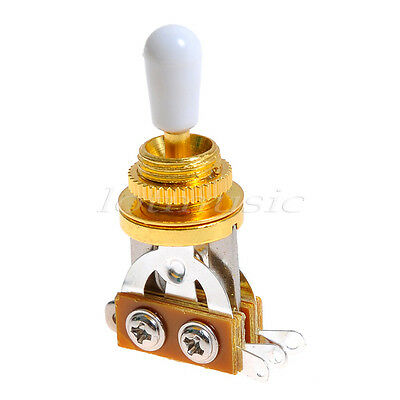 2pcs 3 Way Guitar Toggle Switch for  Electric Guitar Gold  w/ White Cap NEW!