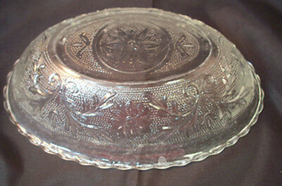 Vintage Clear Anchor Hocking Sandwich Glass Oval Serving Bowl