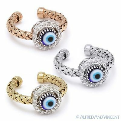 Evil Eye Turkish Greek Hamsa Kabbalah Charm Sterling Silver Diamond Circle Ring