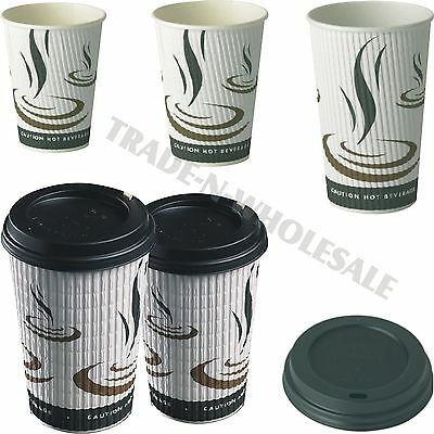 Triple Insulated Hot Drinks Paper Cups Coffee Catering Cafe Disposable Dome Lids
