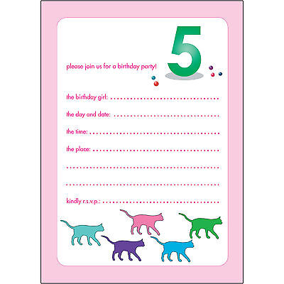 10 Childrens Birthday Party Invitations 5 Years Old Girl - BPIF-50 Cats