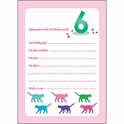 10 Childrens Birthday Party Invitations 6 Years Old Girl - BPIF-52 Cats
