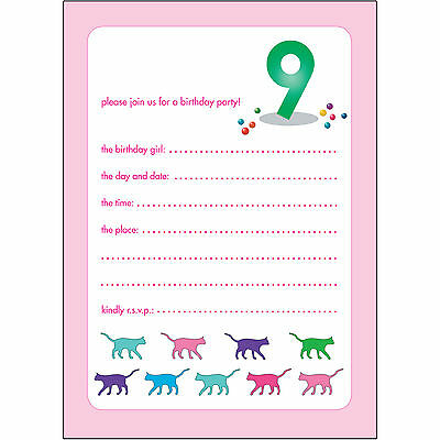 10 Childrens Birthday Party Invitations 9 Years Old Girl - BPIF-58 Cats