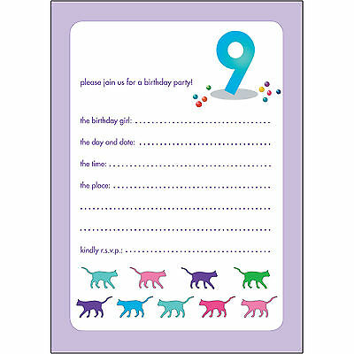 10 Childrens Birthday Party Invitations 9 Years Old Girl - BPIF-59 Cats