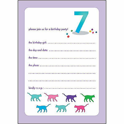 10 Childrens Birthday Party Invitations 7 Years Old Girl - BPIF-55 Cats