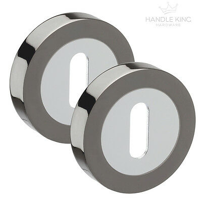 Key Lock Keyhole Escutcheon Pairs(2) Duo Black Nickel & Polished Chrome Finish