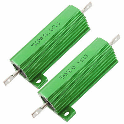 2 x Chassis Mounted 50W 0.1 Ohm 5% Aluminum Case Wirewound Resistors Green