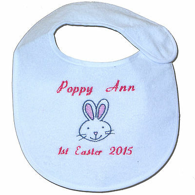 1st/First Easter 2018 Personalised Baby Bib with Bunny Design - Great Gift