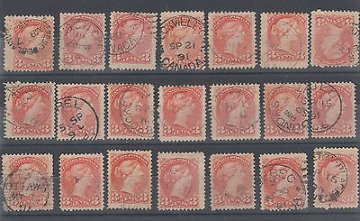 SMALL QUEEN LOT DATED  CANCELS etc. used 3 cent Canada 21 stamps