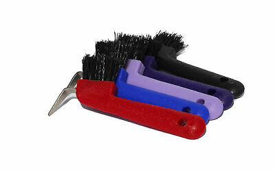 Horse Hoof Pick with Brush - Plastic Handle - Various Colours