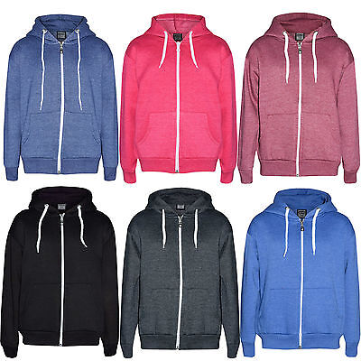 Unisex Girls Kids Boys Children New Plain Hood Hoodie Cotton Fleece Jacket 1-13