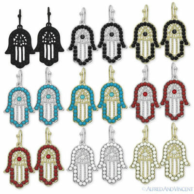 Hamsa Hand of Fatima Jewish Judaica Kabbalah Evil Eye Charm Dangle Earrings