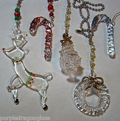 assorted stained glass Christmas ornament fan light pull rearview mirror charm