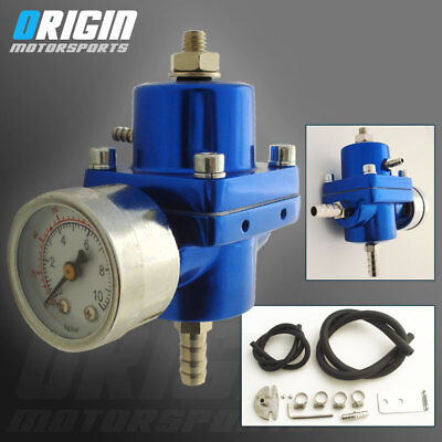 Accufab Universal Adjustable Fuel Pressure Regulator FPR AFPR 4 out Blue 4 in