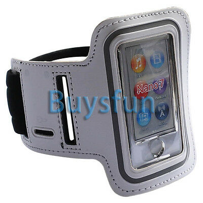 White Sport Gym Armband Leather Case Cover For Apple iPod Nano 7 7G 7TH +Film