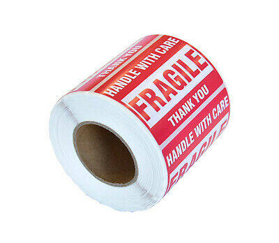 1000 FRAGILE HANDLE WITH CARE  Red Warning Sticker- 105x57mm SELF ADHESIVE LABEL