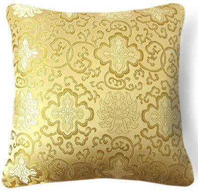 Bf030a Gold Aster on Red Rayon Brocade Cushion Cover//Pillow Case*Custom Size