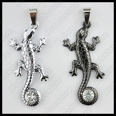 Lizard with Curled Tail Wrap Crystal Necklace - Stainless Steel Accessories -NEW
