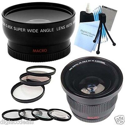 58mm Wide Angle & Fisheye Lens + 7PC Macro / Filter Set fits Canon PowerShot G15