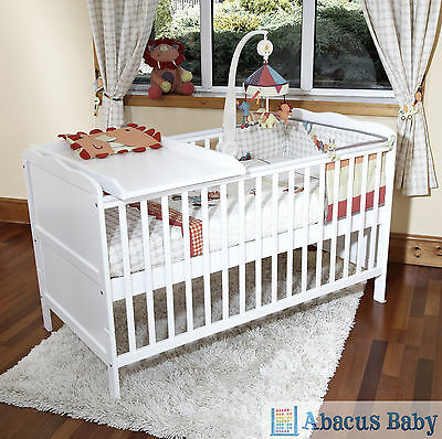 White Cot Bed & Cotbed Deluxe Foam Safety Mattress & Cot Top Changer-Junior Bed