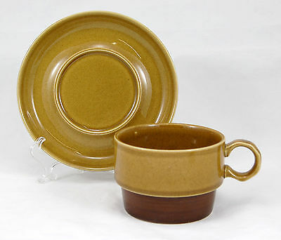 Ekco CANOE 1102 Flat Cup and Saucer Set 2.5 in. Genuine Stoneware Brown Trim