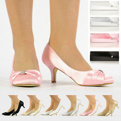 New Womens Ladies Satin Wedding Prom Bridal Evening Diamante Gem Shoes Size 3-8
