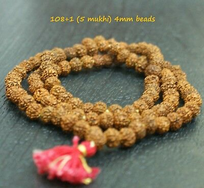Rudraksha 4Mm Tiny Japa Mala Rosary 108 +1 Bead Yoga Hindu Prayer Meditation