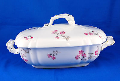 Carlsbad Austria Unknown Pattern Oval Covered Vegetable Bowl 9.25 in. Flowers