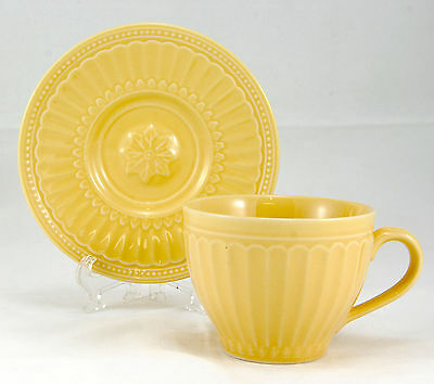 JC Penney COVENTRY - YELLOW Flat Cup and Saucer Set 2.75 in. PTS Embossed Fluted
